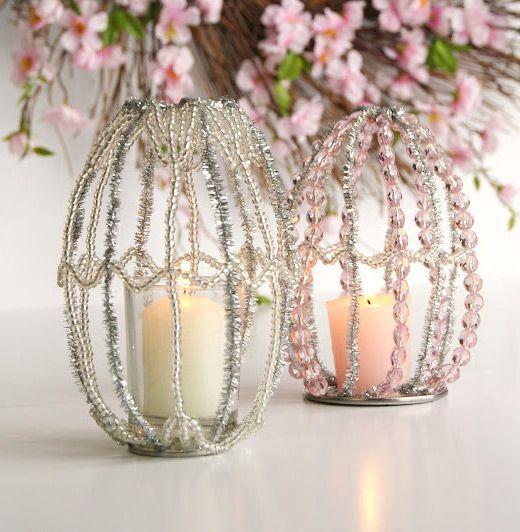Einfache Osterdekorationen Ideen Perlen Kerzen Pfeifenreiniger