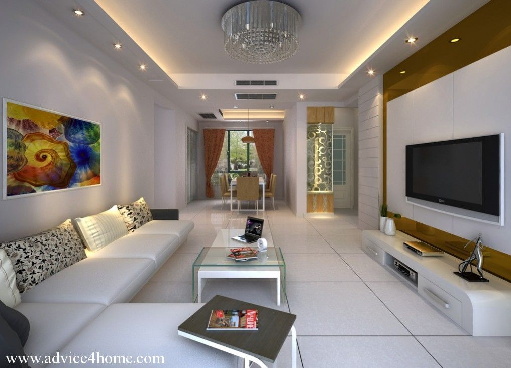 Cool pop ceiling designs for long narrow living room with white sofa