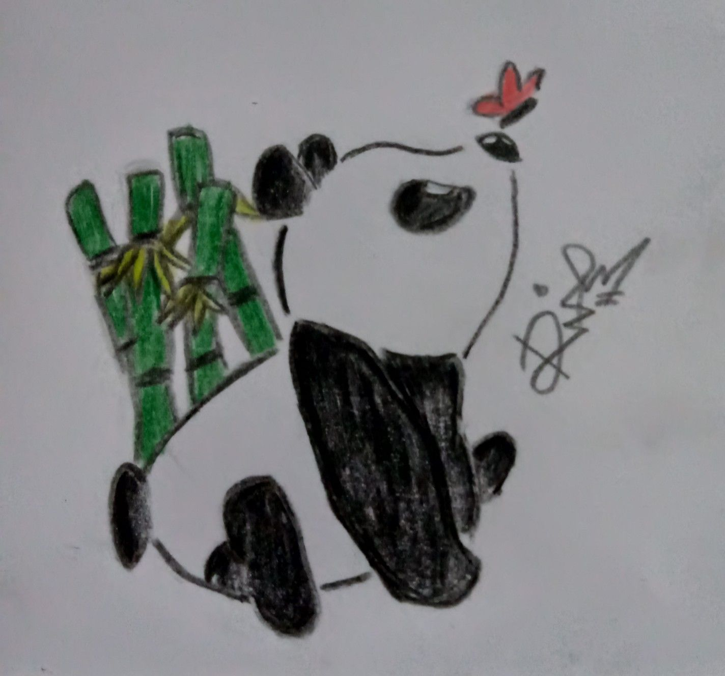 Panda draw with colored pencils 170220