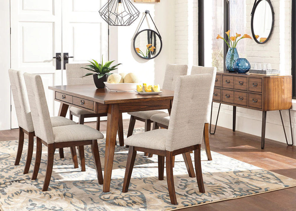 Bailey 5 Pc Dining Room The Roomplace Rectangular Dining Room Table Side Chairs Dining Upholstered Dining Side Chair