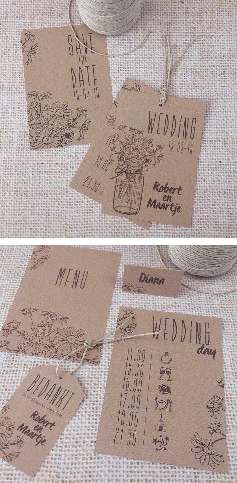 Weddingstationery • Rustic wedding • Trouwkaart • studiosproet.com