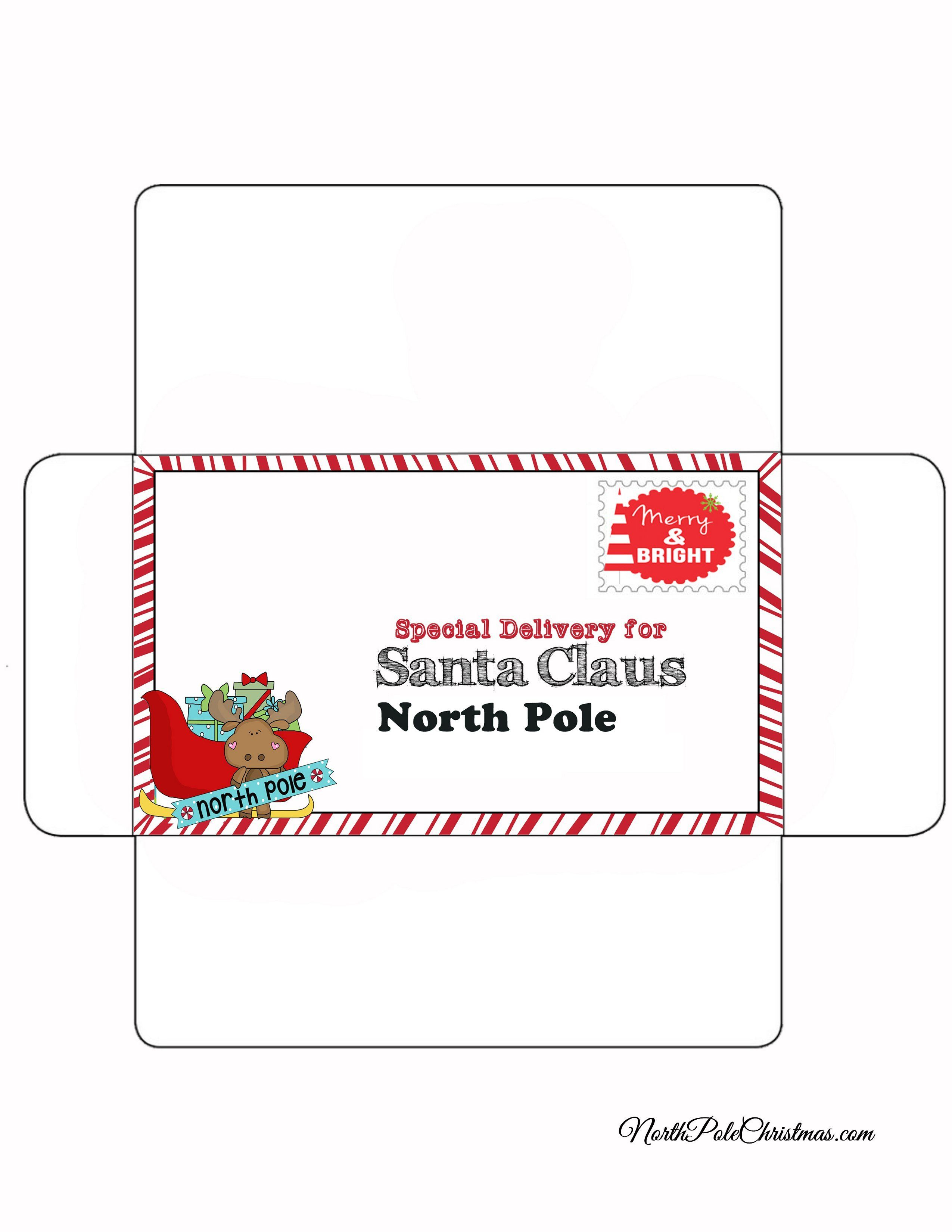 Envelope For Letter To Santa Merry Stamp Christmas Envelope Template Free Printable Envelopes Santa Letter