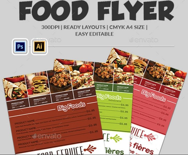 Psd And Ai Food Flyer Template   Restaurant And Food Flyer