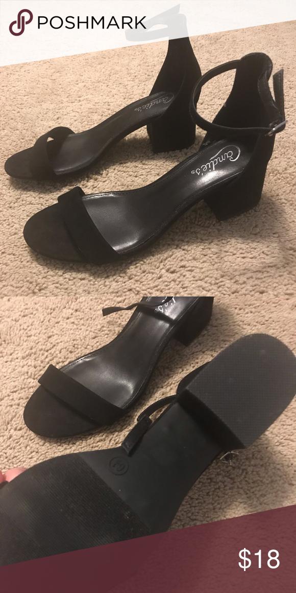"ec001094e5f Dressy black sandals 2"" block heel and ankle strap. Looks like new ..."