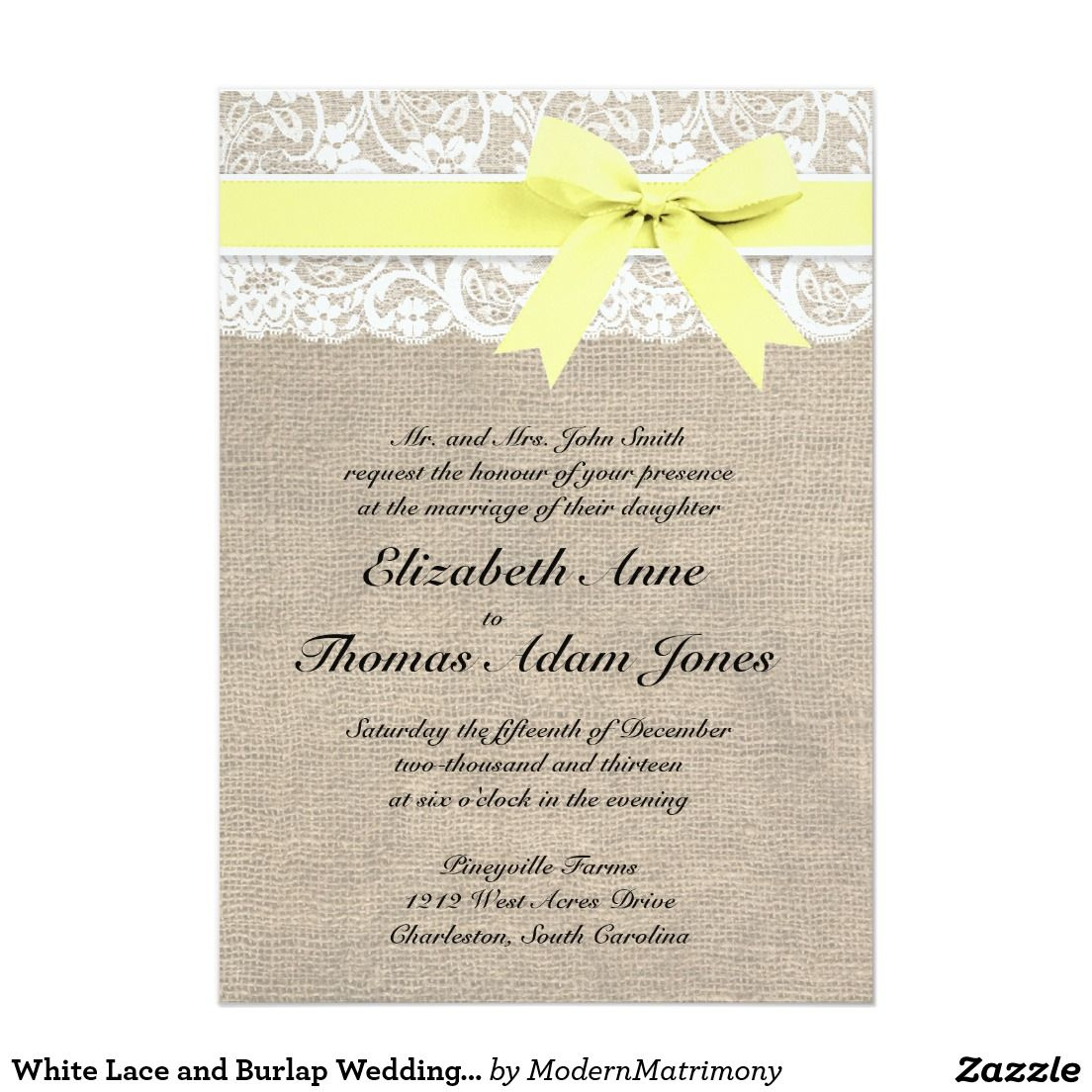 White Lace and Burlap Wedding Invitation- Yellow | Lace and bow ...