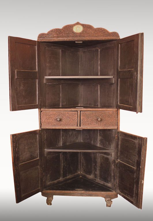 Indian Brahmin Plaqued Vine Carved Corner Cabinet