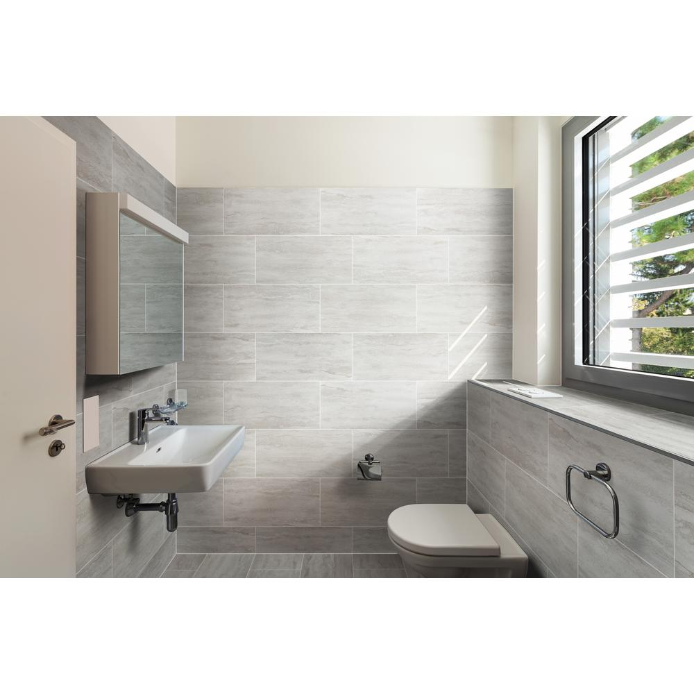 Msi Nyon Gray 12 In X 24 In Polished Porcelain Floor And Wall Tile 16 Sq Ft Case Nhdnyogra1224p The Home Depot Porcelain Flooring Small Bathroom Remodel Floor And Wall Tile