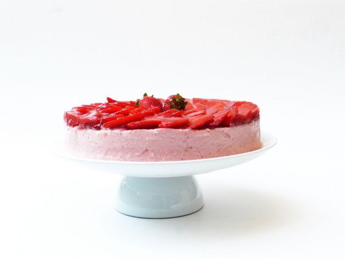 Tarta de mouse de fresa y nata