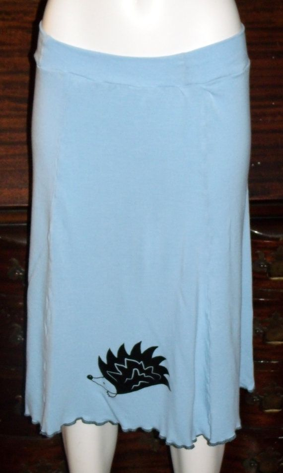 Hedgehog Love Organic Bamboo Panel Skirt in Sky Blue by KreativeMindz, $65.00