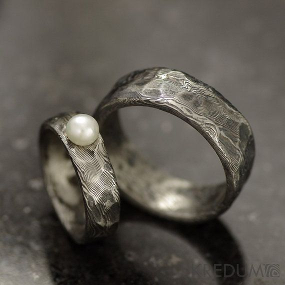 Rustic Wedding Ring Engagement Ring Custom Stainless Damascus