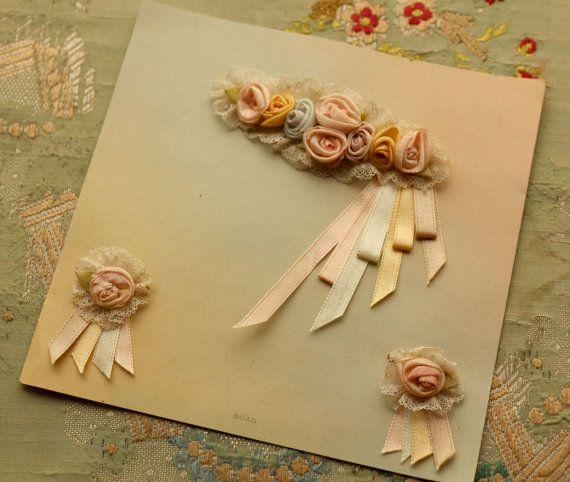 Antique Boag fabulous set of 3 antique pink ribbonwork rolled roses millinery…