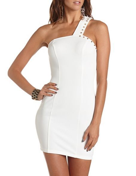 Studded Zip-Back Body-Con Dress: Charlotte Russe