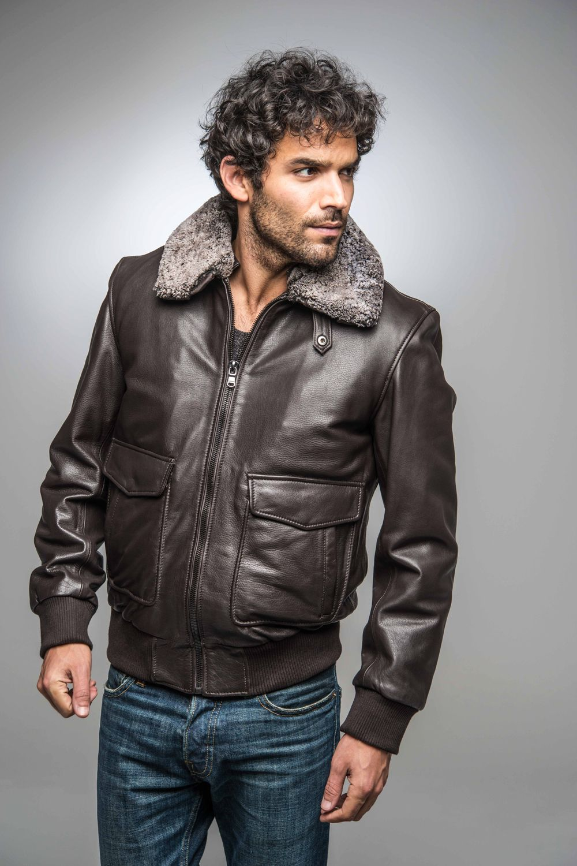 Homme Schott Blouson en cuir noir Slim Perfecto Produit sku