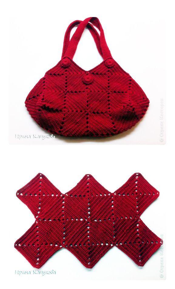 Crochet squares bag - chart & instructions ༺✿Teresa Restegui http ...