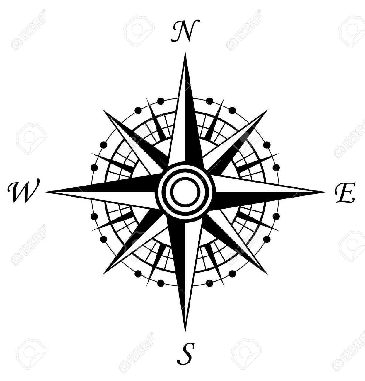 Stock Vector Compass tattoo, Compass tattoo design