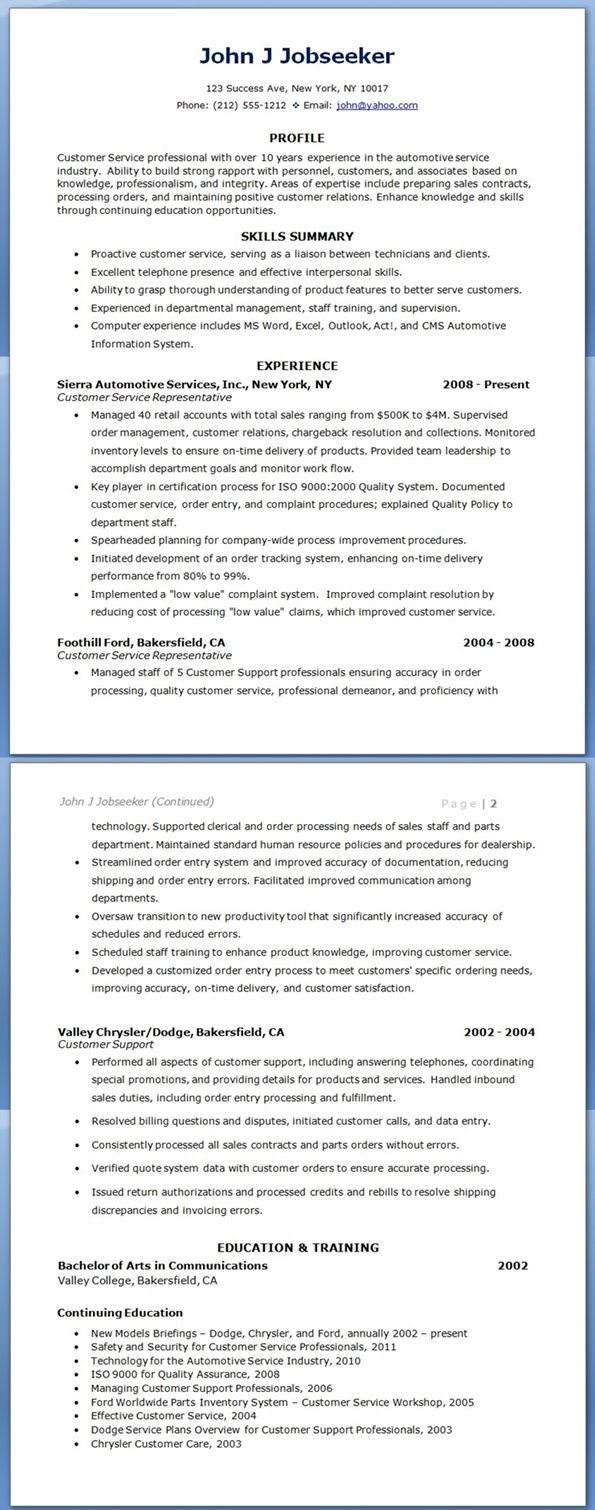 Customer Service Resume Sample Growing Up Customer
