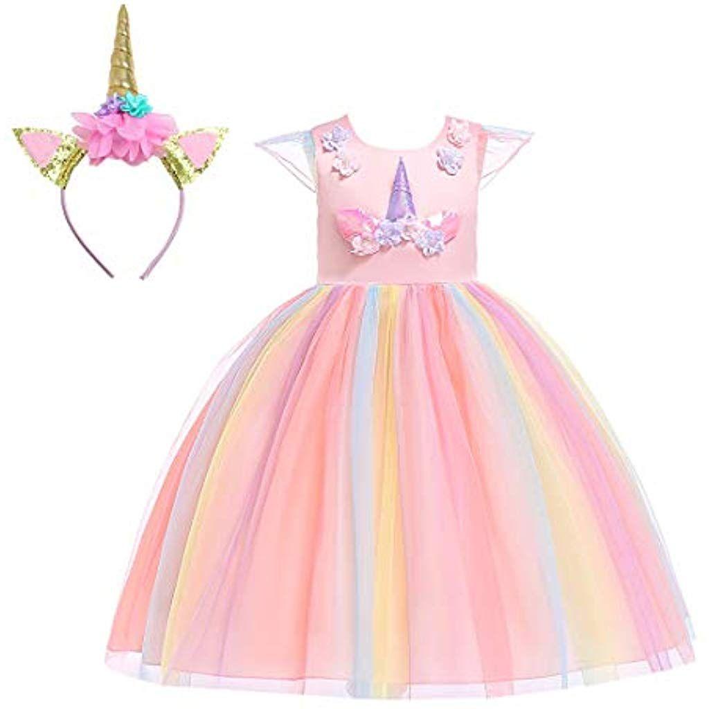Mädchen Kinder Prinzessin Kleider Partykleid Outfits Einhorn COS Karneval Kostüm