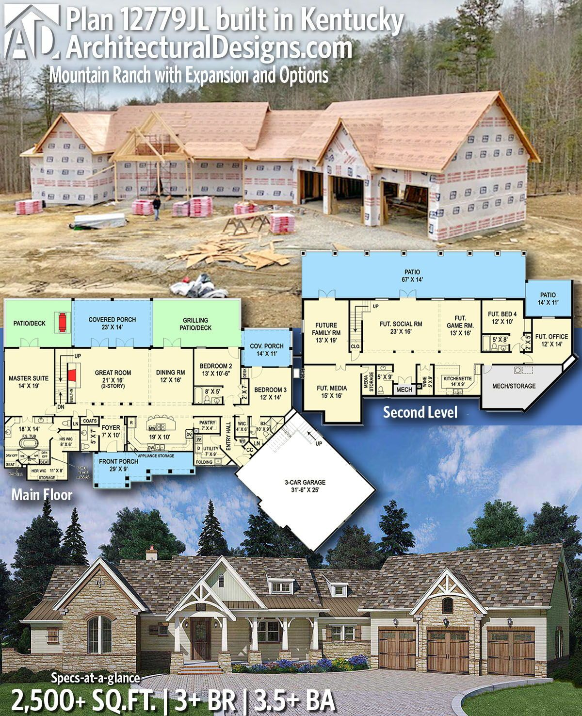 Architectural Designs Home Plan 12779jl Built In Kentucky This House Gives You 3 Bedrooms 3 5 Baths And 2 500 Sq Plan Zagorodnogo Doma Dom Zagorodnye Doma