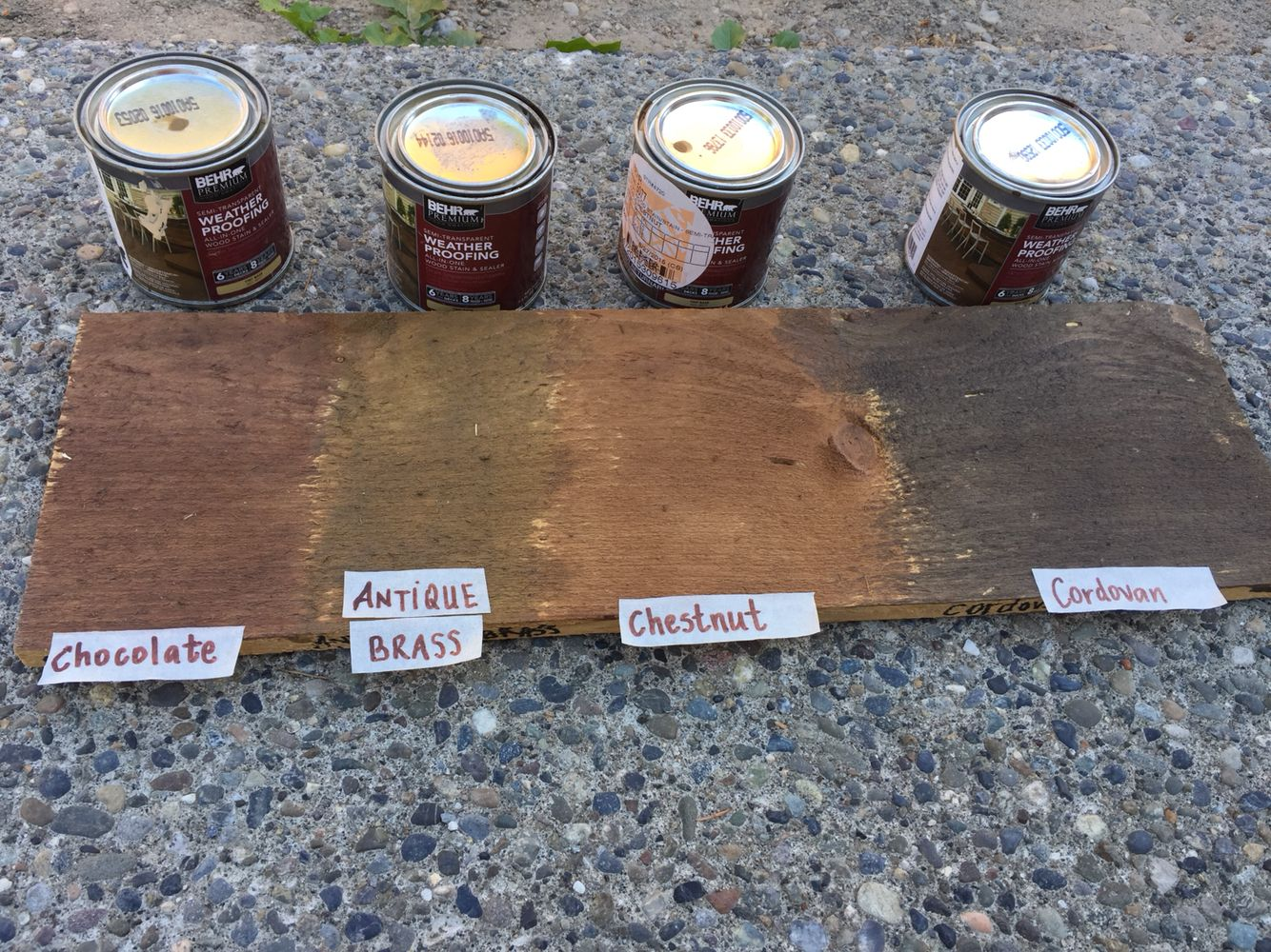 Minwax gel stain colors home depot wood stains color chart car tuning - Behr Wood Stain Fence Chocolate Cordova Brown Chestnut And Antique Brass Colors