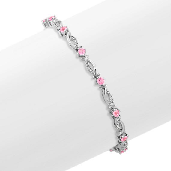 2 Ct Pink Sapphire Round Bezel Bangle Bracelet .925 Sterling Silver