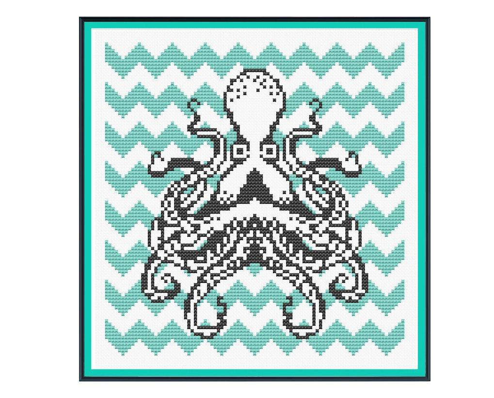 Octopus with Teal Chevron Cross Stitch