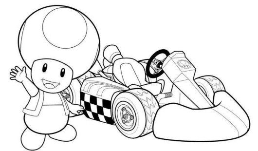 Mario cart Coloring Pages for Boys | Toad Mario Kart Racing Coloring ...