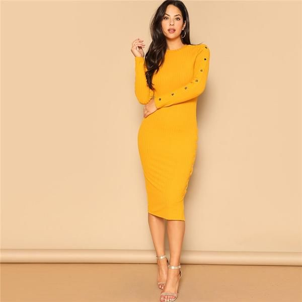 f61c80505c9 SHEIN Ginger Office Lady Snap Button Side Rib-knit Fitted Bodycon Pencil Dress  Women Elegant
