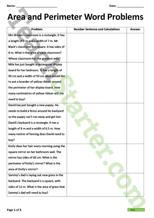 Math Worksheets 3rdade Area Division Word Problems And Perimeter ...