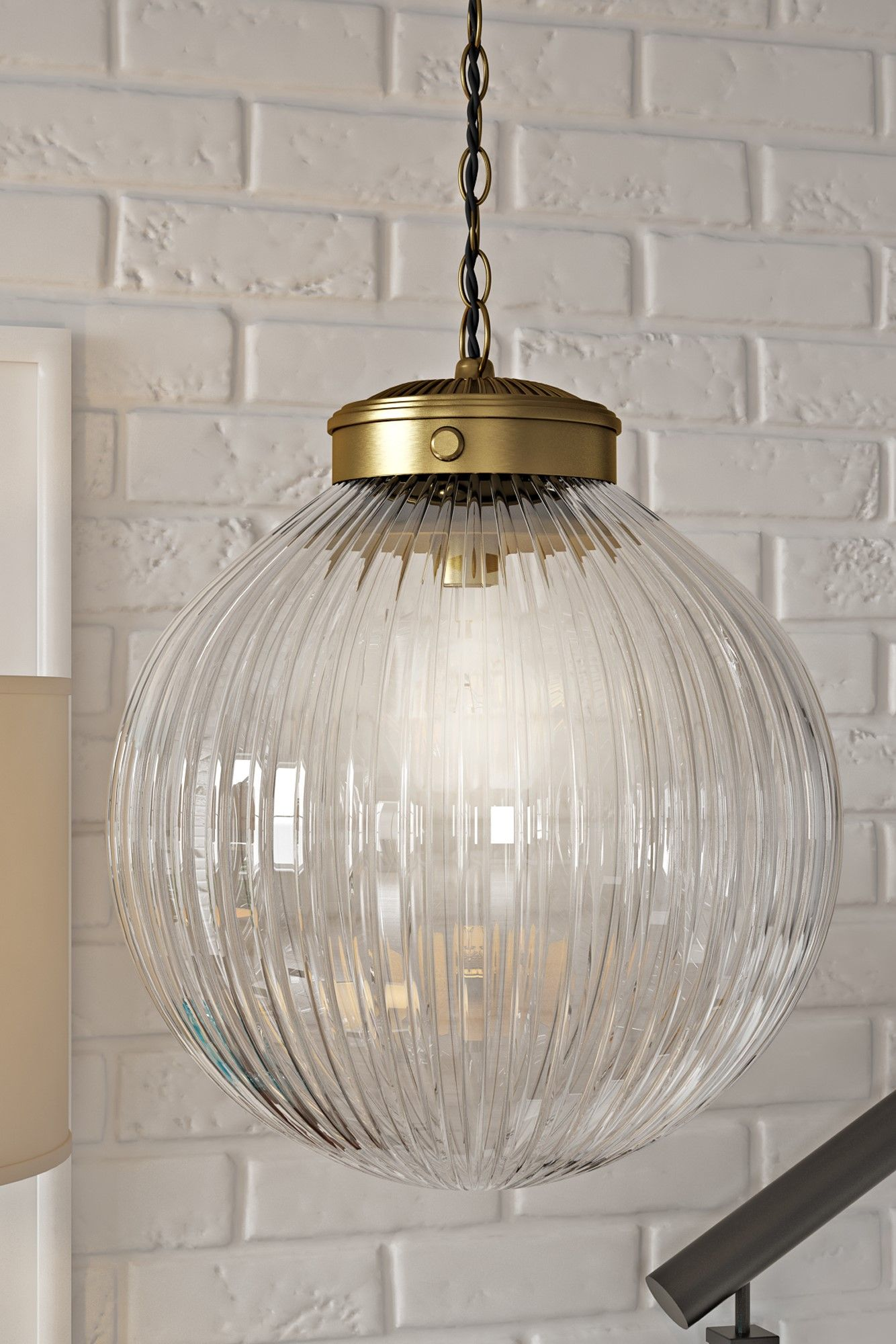 Brydon 1 Light Globe Pendant The Brydon Ceiling Pendant Features A Ribbed Round Glass Shade Hangin Pendant Light Kit Glass Pendant Light Plug In Pendant Light