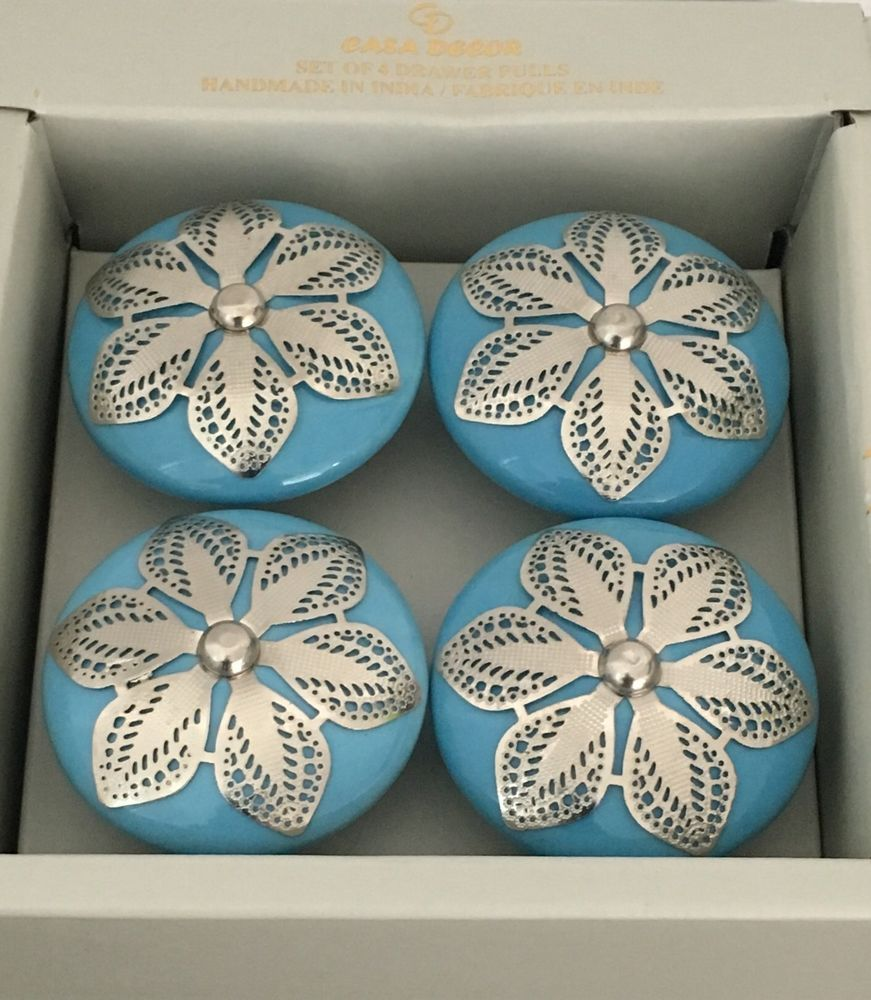 Casa Decor Set Of 4 Drawer Pulls Blue U0026 Silver Flowers Handmade In India