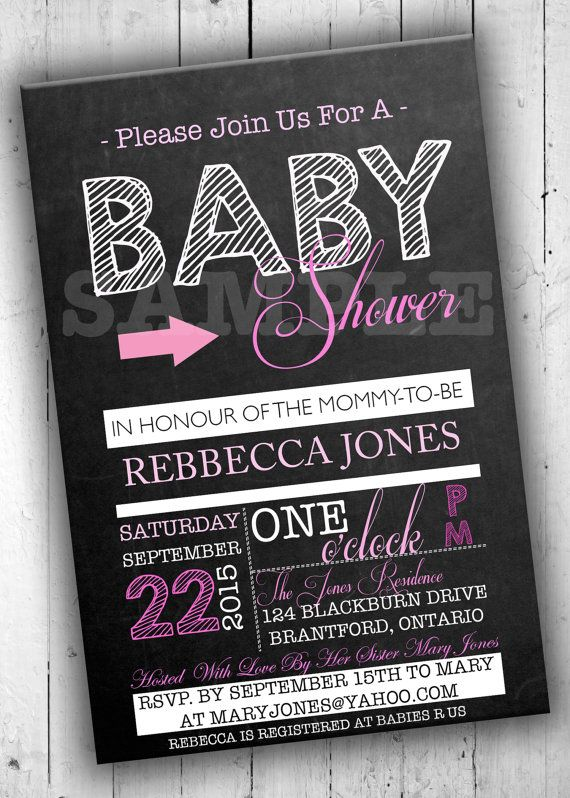 Baby Shower Invitation Chalkboard by PartyPrintableInvite on Etsy