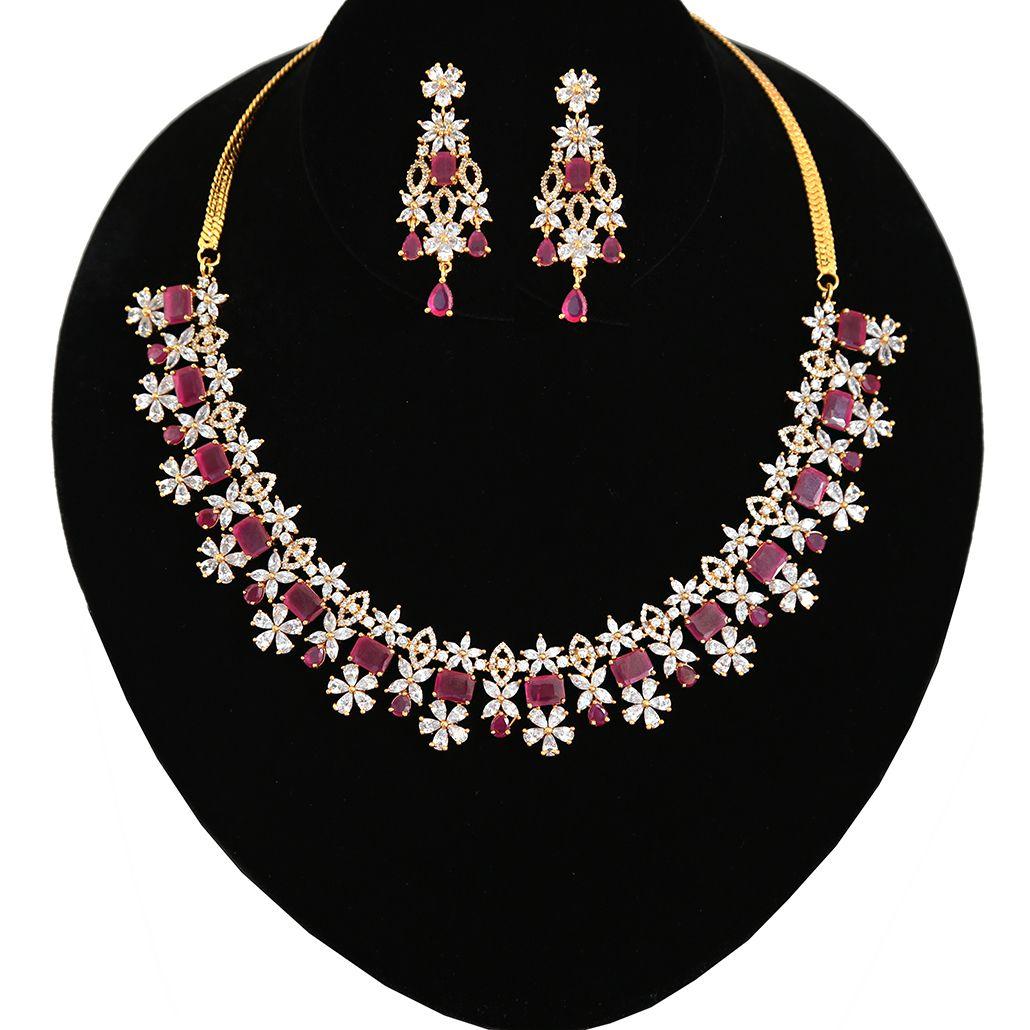 Wedding Bride CZGem Earring Choker Necklace Wedding Bride Prom Jewellery Set