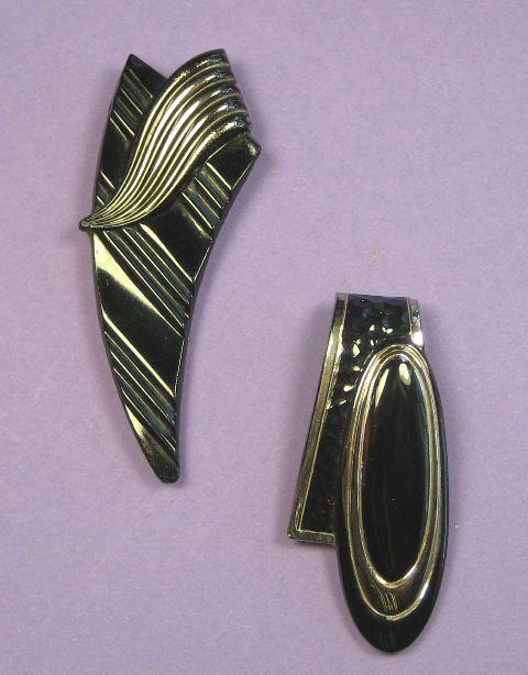 2 ART DECO DRESS CLIPS - BLACK & SILVER GLASS