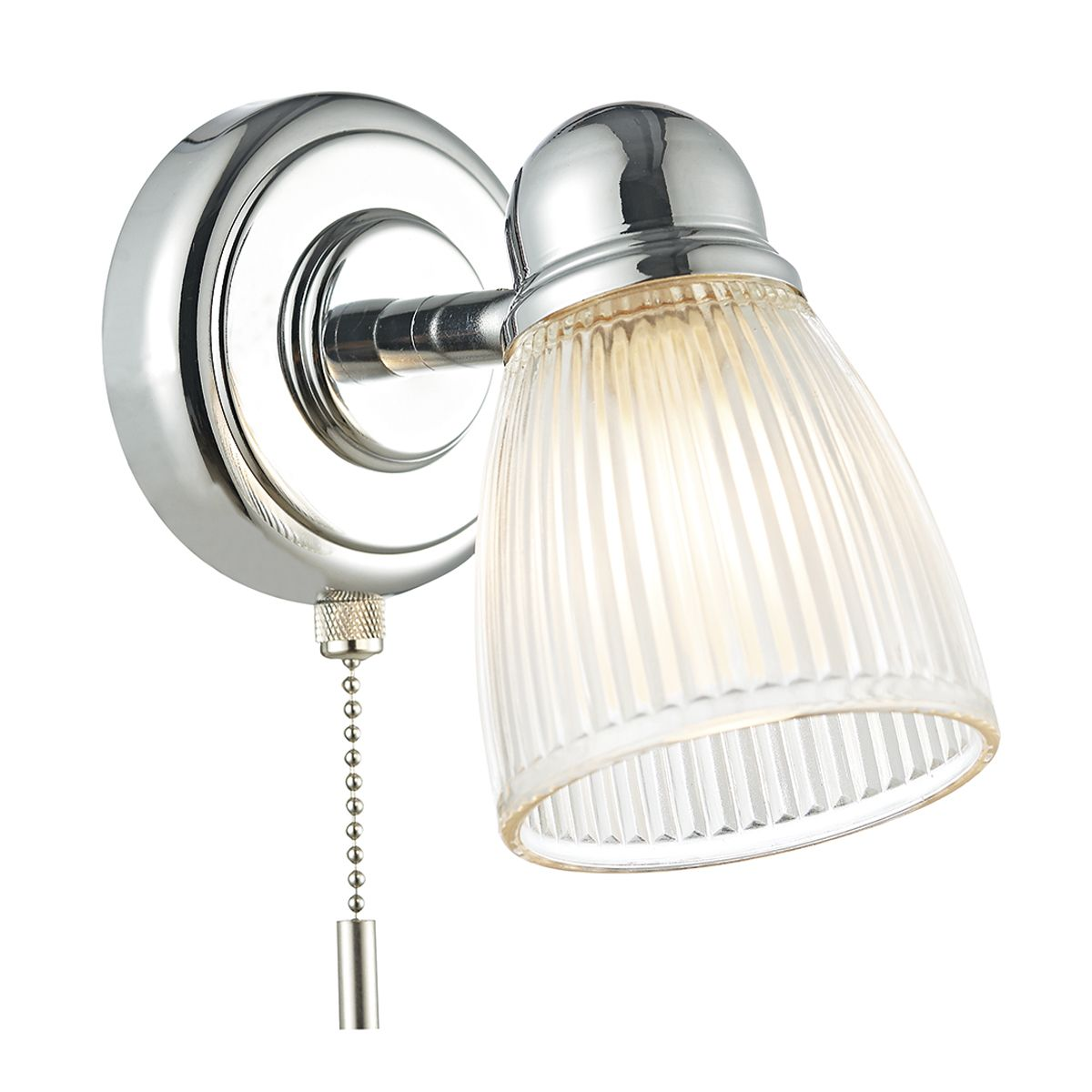 Ced0738 Cedric Bathroom Single Wall Light Polished Nickel Bathroom Rated Ip44 Ribbed Outer Glass Shades Switched