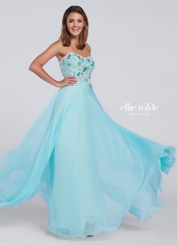 Ellie Wilde for Mon Cheri EW117127 is a strapless Ellie Wilde prom ...