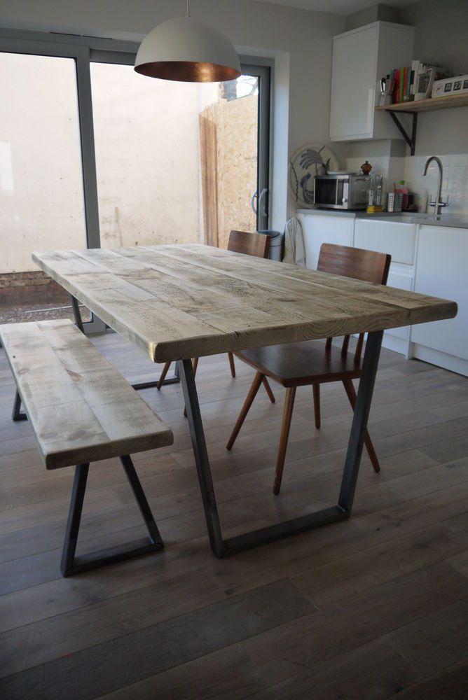 John Lewis Calia Style Vintage Industrial Rustic Reclaimed Top Dining Table