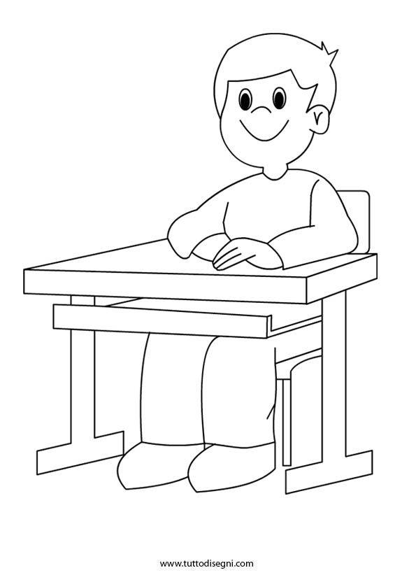 Bambino Seduto Al Banco Di Scuola Tutto Disegni Bambini Banchi Di Scuola Disegni Bambini