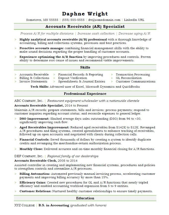 Accounts Payable Sample Resume Pleasing Accounts Receivable Resume Sample  Interview And Job Hunting Tips .