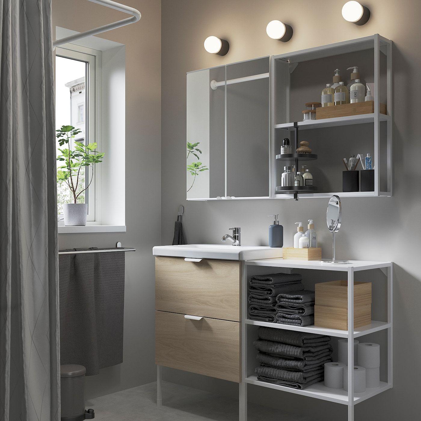 ENHET / TVÄLLEN Bathroom furniture set, 15 pieces, White, 122x43x87 …