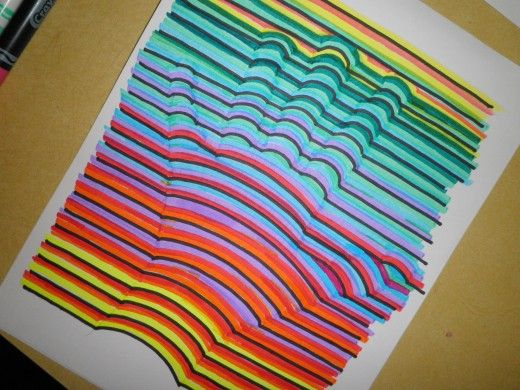 Art Lesson How To Draw A Hand Print In 3 Dimensional Colors Art Lessons 3d Hand Drawings Op Art Lessons