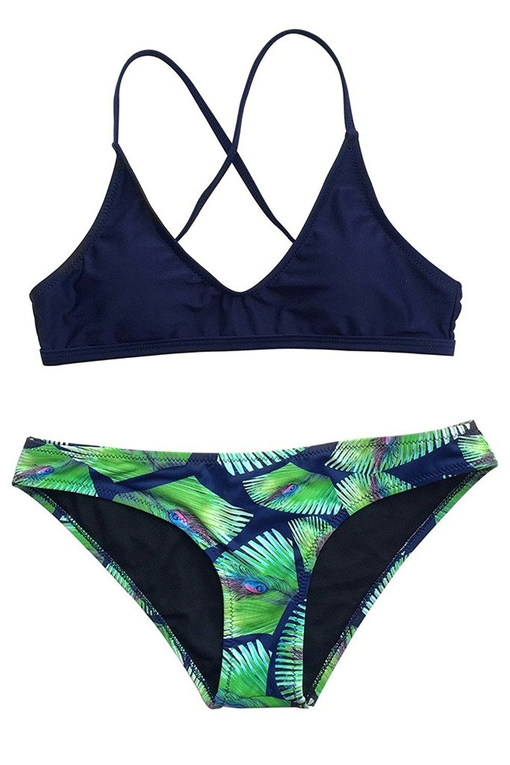 8a3fd00fd Women s Dark Blue Two Piece Padded Bikini Swimsuit with Peacock Feather  Printing - CT1836HMKO6