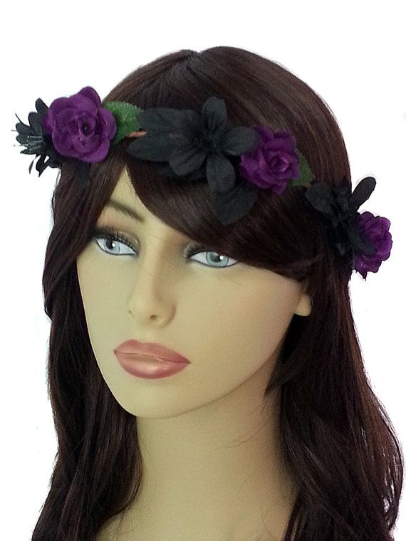 Darkness Fall Woodland Flower Crown-Dark Purple Bridal Flower Crown-  Wedding Hair Crown- Bridal Hairpiece- Purple Roses- Black Flowers Crown. f2e604952fe