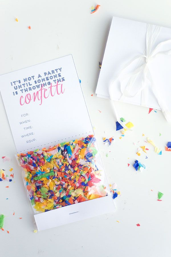 diy confetti invitation with free printable party time excellent