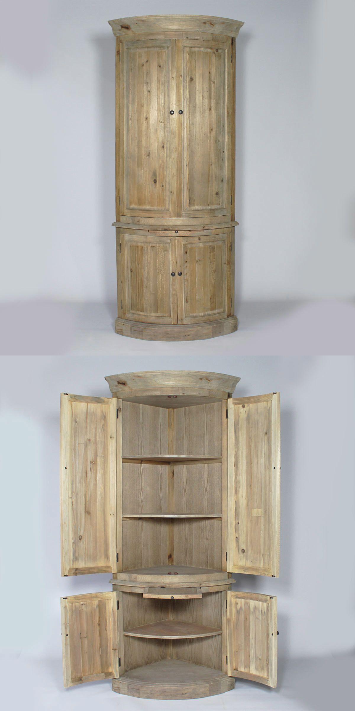 Buffet D Angle En Pin Massif Recycle 4 Portes 3 Etageres Meuble D Angle Mobilier De Salon Meuble Bois Recycle