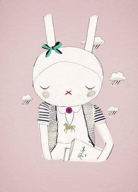 Bookish Fifi Lapin Cartoon Illustration Bunny Fashion