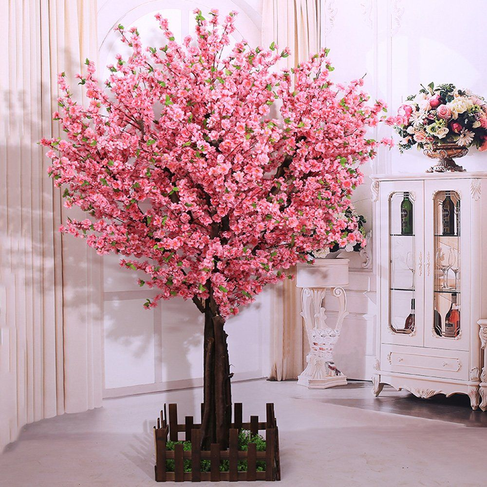 J Beauty Artificial Peach Blossom Trees Artificial Cherry Blossom Tree Silk Flower 4 Feet Tall Silk Flower Arrangements Peach Blossom Tree Artificial Cherry Blossom Tree Cherry Blossom Tree