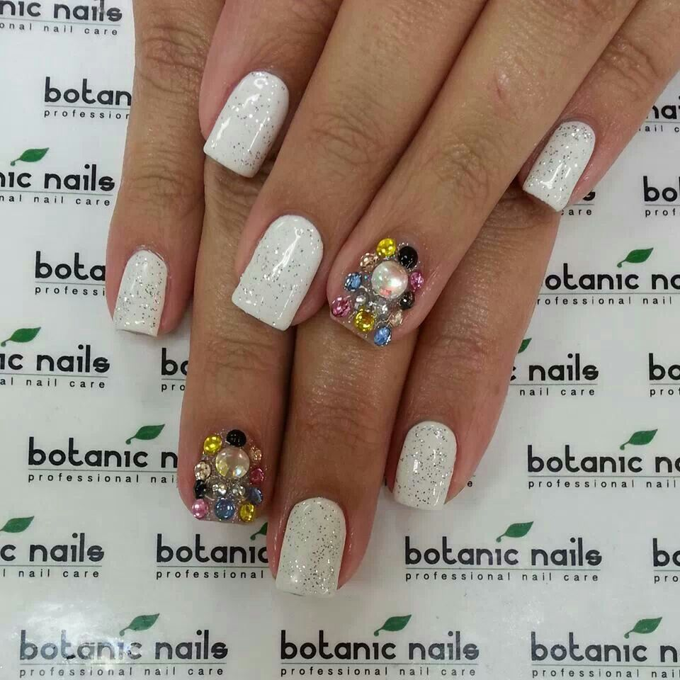 White Silver Glitters An Accent Bedazzled Nail Botanic Nails Bedazzled Nails Nails