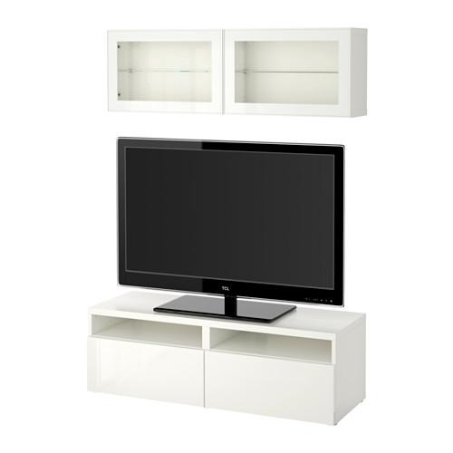 BESTÅ TV-løsning/vitrinedører, brunsvart Lappviken, lys grå klart - Wohnzimmer Ikea Besta