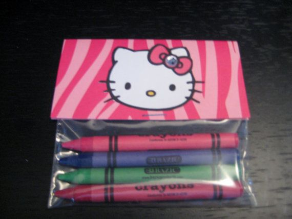 items similar to hello kitty party favor crayons 6 sets on etsy use free printable