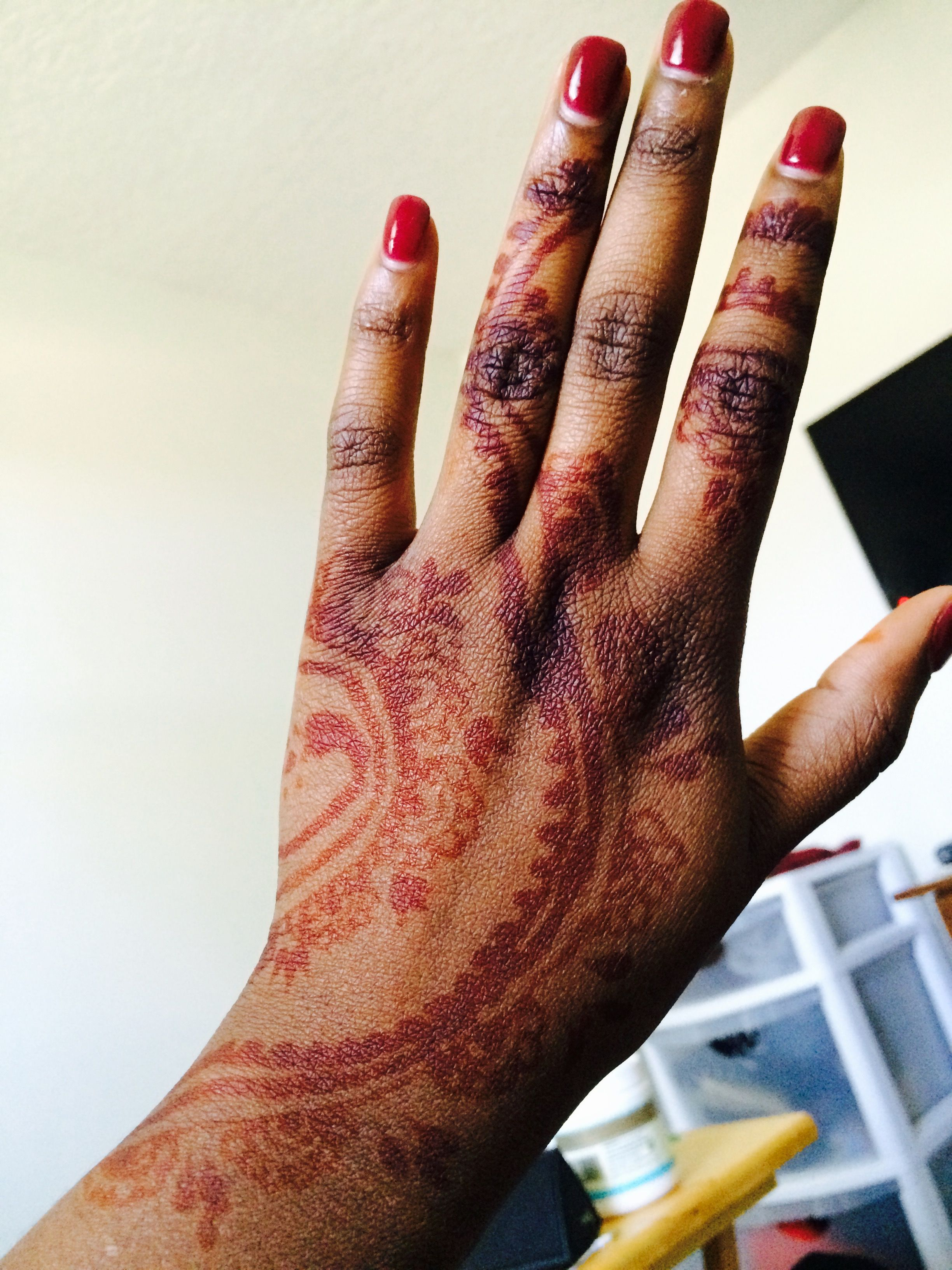 Dark Red Shirt Square Nails With A Beautiful Henna Tattoo I Got At